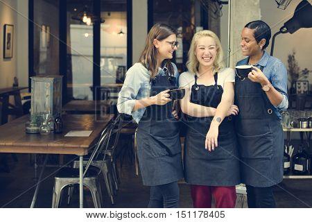 Friends Girls Partnership Uniform Apron Cafe Concept