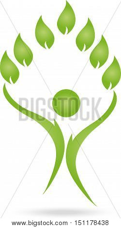 Human and leaves, naturopaths or sports medicine logo