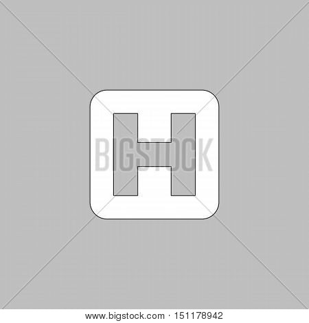 Helipad Simple line vector button. Thin line illustration icon. White outline symbol on grey background