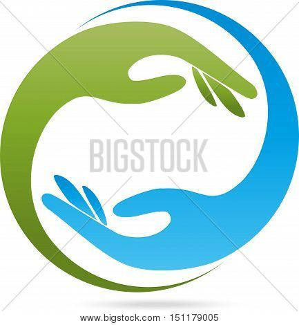 Two hands in green and blue, helper, physiotherapist or curative practitioner logo