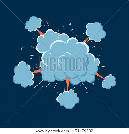 Cartoon vector bomb explosion with smoke. Cartoon style. Effect boom, explode flash, bomb comic. Blast with fire and cloud. Illustration of burst isolated.