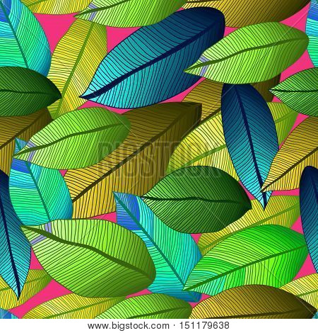 Vector pattern with tribal leaf. Tribal forest pattern. Nature backdrop, repeated background. Foliage