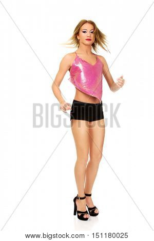 Disco woman in party clothes.