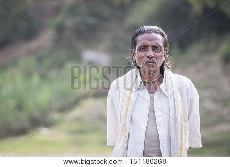 Chittagong Bangladesh February 25th 2016: Bangladeshi man on a boat
