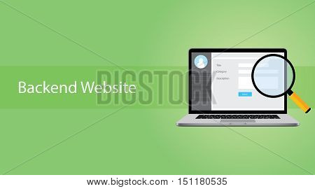 backend website concept with laptop and magnifying glass vector