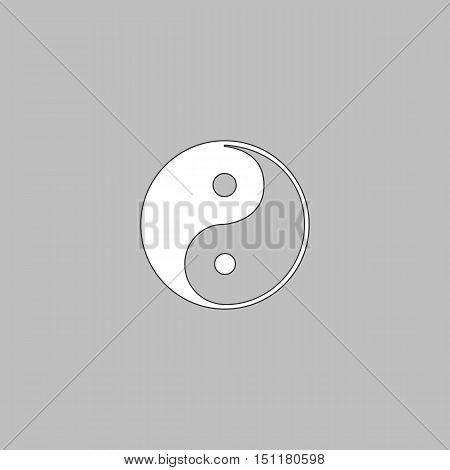 Ying-yang Simple line vector button. Thin line illustration icon. White outline symbol on grey background