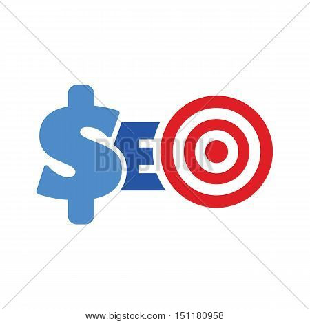 word seo target symbol website optimization monetization concept vector illustartion