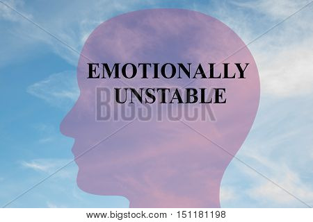 """Render illustration of """"EMOTIONALLY UNSTABLE"""" title on head silhouette with cloudy sky as a background. poster"""