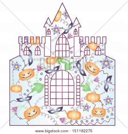 vector silhouette, stencil, template halloween castle gradient