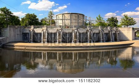 Flood control gate along the San Antonio River in San Antonio Texas