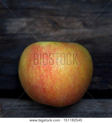 Wet red apple on the dark wood background