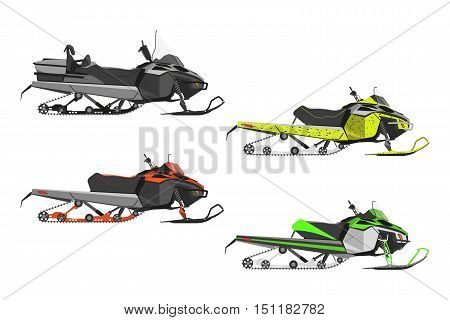 Set or snowmobiles on a white background. Transport for extreme winter sports. Vector illustration