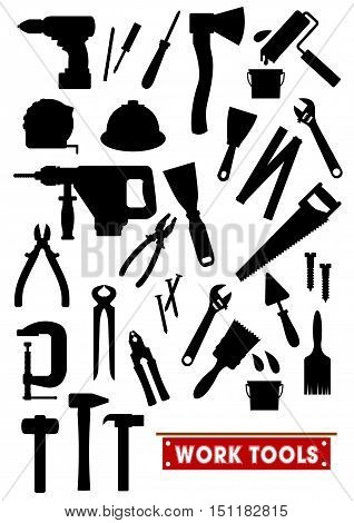 Work tools silhouette icons. Construction, carpentry and home repair vector isolated symbols hammer, electric drill, ax, ruler, saw, tongs, screwdriver, knife, paint bush, spanner helmet nippers trowel