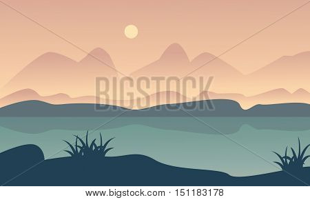 Landscape hill and river of silhouette vector illustration