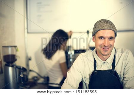 Barista Coffee Steam Cafe Apron Drink Business Concept