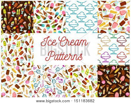 Ice cream seamless patterns. Vector pattern of dessert ice cream scoop in waffle cone, eskimo pie, slushy, frozen ice, sorbet, gelato, sundae for cafe or restaurant menu, decoration