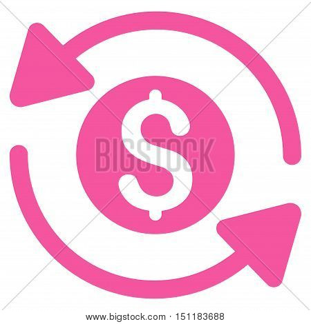 Money Turnover icon. Glyph style is flat iconic symbol with rounded angles, pink color, white background.