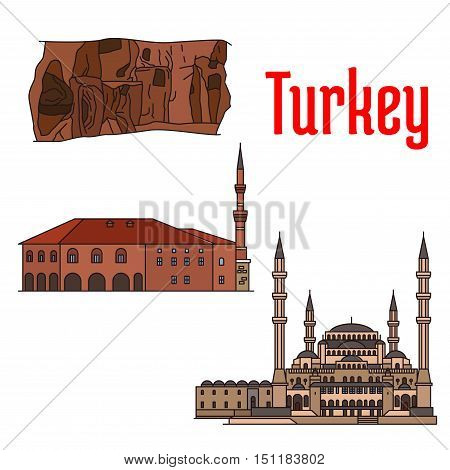 Turkey historic architecture and sightseeings. Vector detailed icons of Kocatepe Mosque, Haci Bayram Camii, Kaymakli Underground City. Turkish architecture symbols for souvenirs, postcards poster