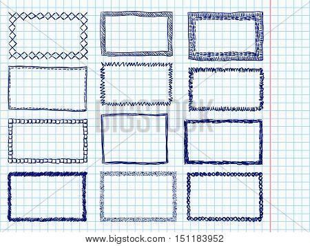 Frames Doodle Blue Pen Set Curve Border Notebook Paper