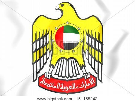 United Arab Emirates Coat Of Arms. 3D Illustration.