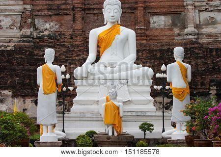 View of buddha statue in Ayudhaya province, Thailand