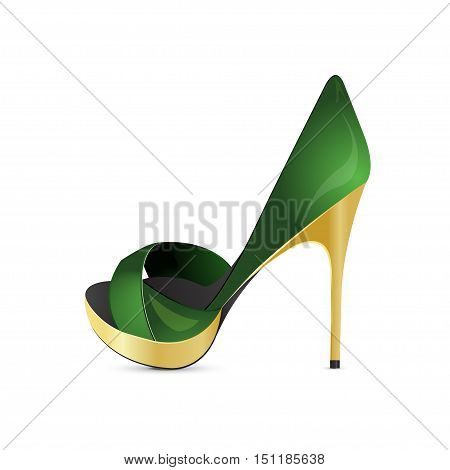 Green shoe on a high heel. Vector illustration