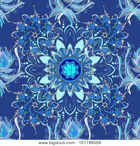 Blue lace. Round lace pattern on an doodles background. Vector.
