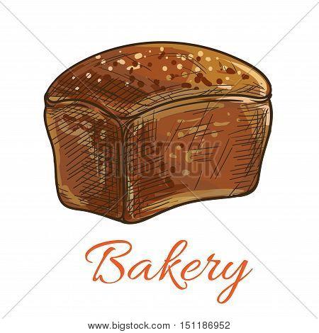 Bread loaf icon. Vector pencil sketch of wholegrain rye bread. Square brown loaf with crisp