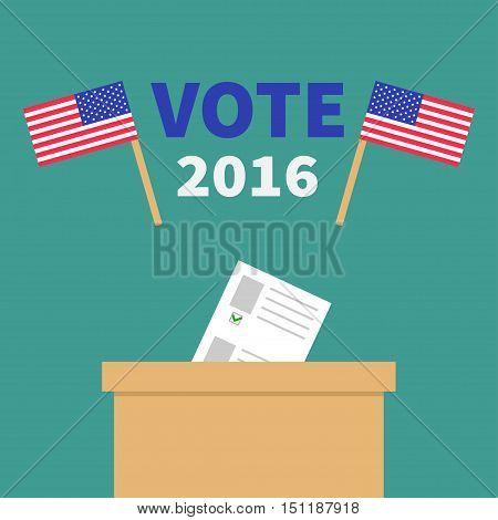 Ballot Voting box with paper blank bulletin concept. Polling station. President election day Vote 2016. Crossed American flag set. Isolated Green background Flat design Card. Vector illustration