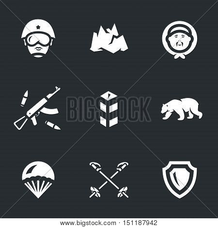 Soldier, iceberg, chukchi, arms, border post, polar bear, parachute, ski poles, shield.