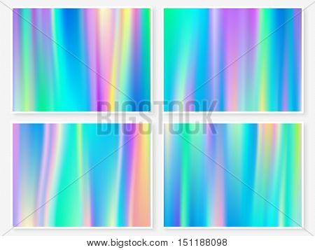 Holographic background. Vibrant neon pastel texture. Hologram glitch for web design. Hipster style backdrop set. Trendy vector background for fashion or printed products.