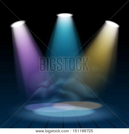 Vector floodlight spotlight illuminates scene inside theatre or disco spot lights shining magic background