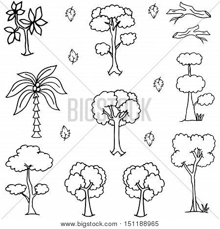 Hand draw tree icon set of doodles vector illustration