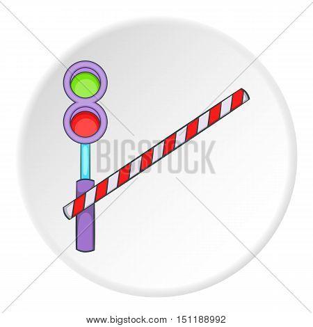 Railroad crossing icon. artoon illustration of railroad crossing vector icon for web