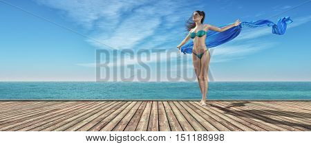 Young girl in blue bathing suit on a wooden pier. This is a 3d render illustration