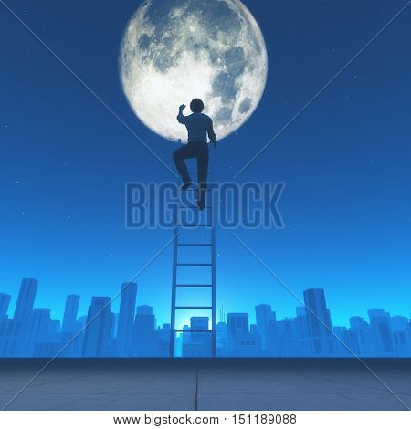 Man climb a ladder to the moon in the city background. This is a 3d render illustration