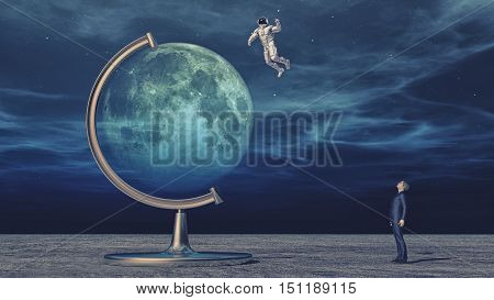 Man looking to a big moon globe and dreaming about being an astronaut and explore the planet. This is a 3d render illustration