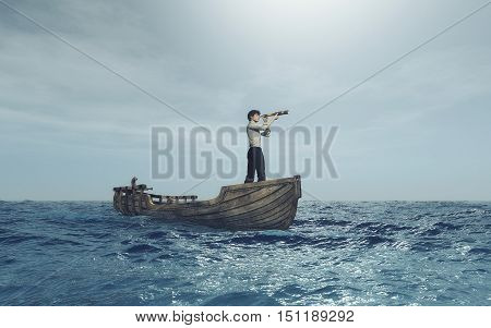 Man watching through a spyglass in a boat afloat the sea. This is a 3d render illustration