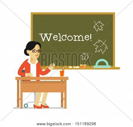 Young teacher woman sitting at the table in classroom in class lesson, isolated on white background