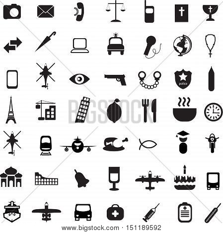 Big set of travel icons in flat style