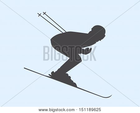 Silhouette Of Skier Speeding Down Slope. Vector Winter Sport Illustration.