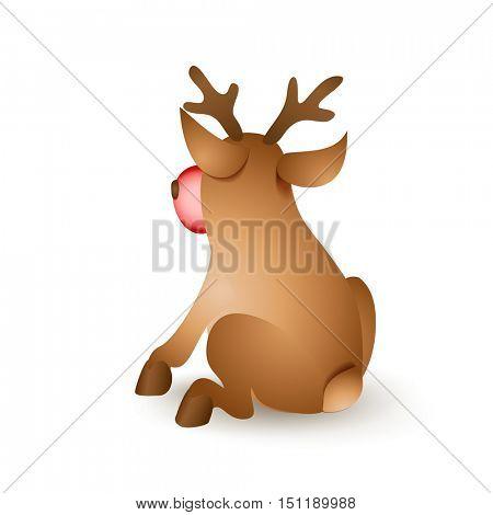 Happy Christmas reindeer sitting backwards on white background. Cartoon vector illustration