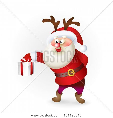 Santa Claus with antlers giving Christmas present on white background. Realistic vector illustration. Old men characters. Christmas and New Year theme