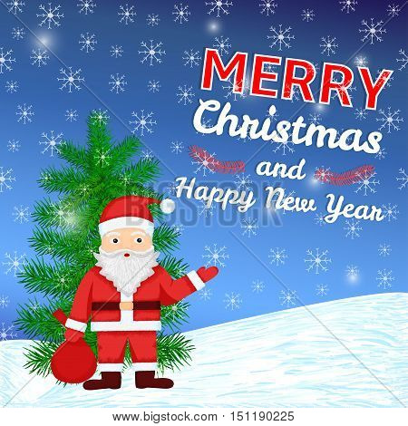 Merry Christmas and New Year colorful background with hand drawn Santa Claus pine and snowflakes