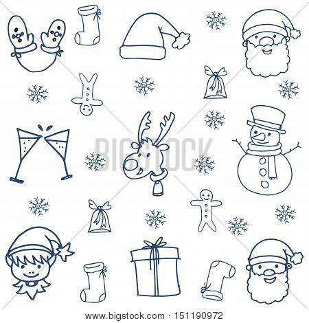 Doodle of hand draw christmas object vector illustration