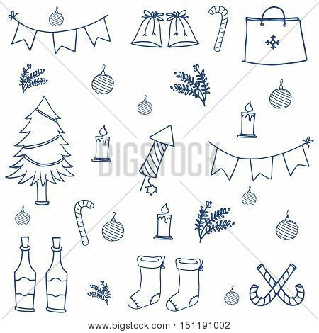 Hand draw object doodle set christmas vector illustration