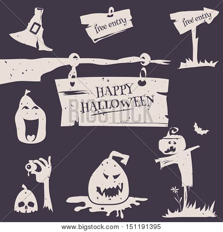 Vector illustration set for happy Halloween flyer card poster. Halloween  emblems and labels on white background in retro stile