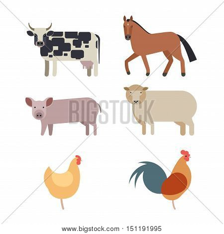 Farm animals set in flat vector style with a chicken hen cock pig sheep beef dairy cow horse