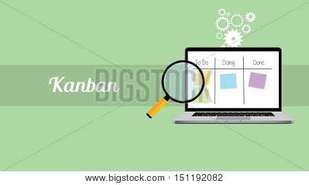 kanban workflow project management with laptop and magnifying glass and stick notes vector