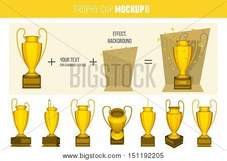 Abstract creative trophy cup set. Isolated mockup on background. Isometric 3D style template. For web and mobile app clipart art. Concept idea design element. Vector illustration infographics theme.